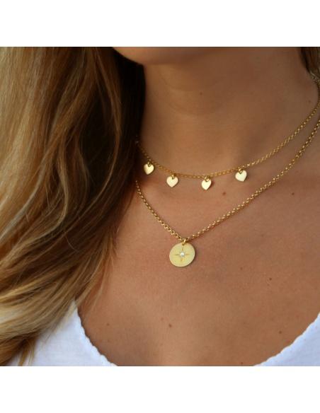 Choker medallitas corazones oro