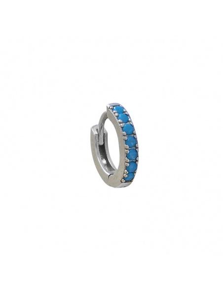 Pendientes aro circonitas azules
