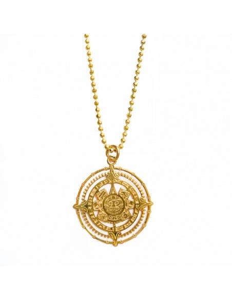 Collar colgante medalla azteca oro