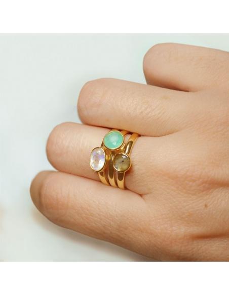 anillo piedra aguamarina