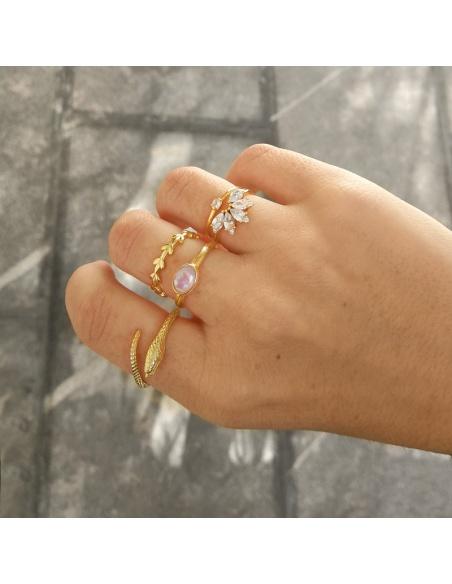 anillo oro piedra luna