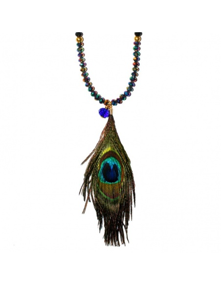 Collar Peacock pluma - bisuka