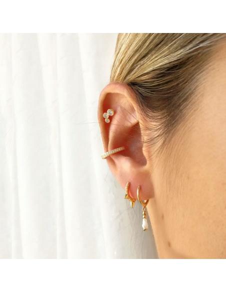 earcuff oro circonitas blancas