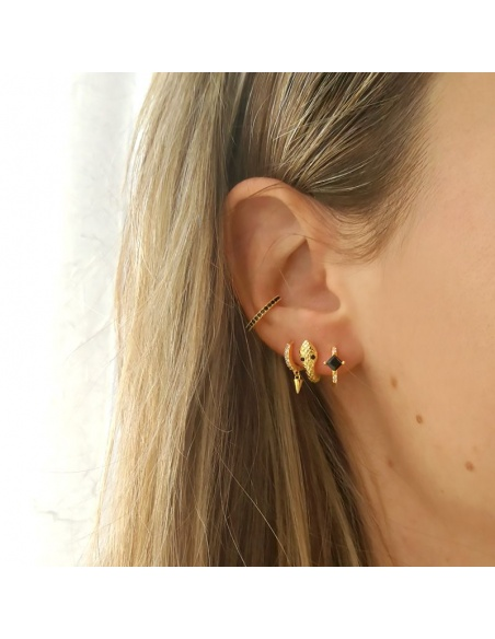 earcuff circonitas negras oro