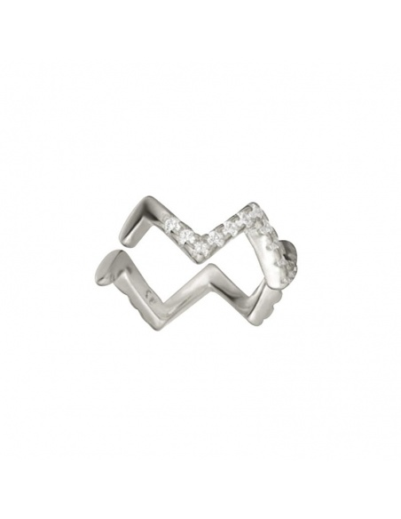 earcuff zigzag circonitas plata