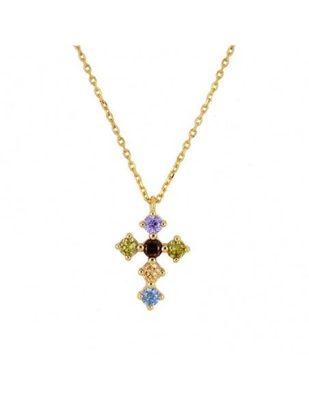 colgante cruz circonitas colores oro