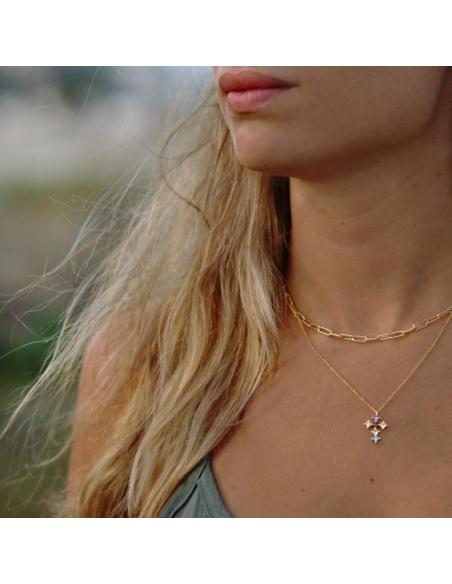 collar cruz circonitas colores oro