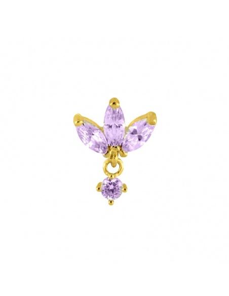 pendiente flor circonitas lilas oro
