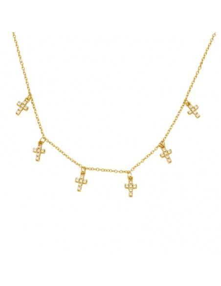 Collar cruces circonitas oro