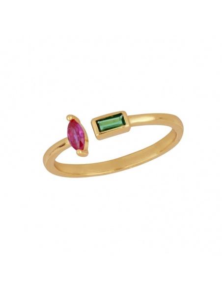 anillo circonitas fucsia y verde oro