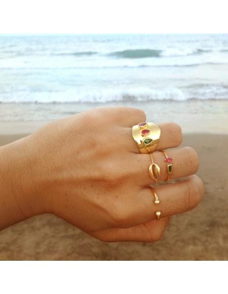 anillo circonitas colores oro