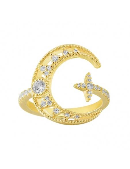 anillo luna circonitas oro