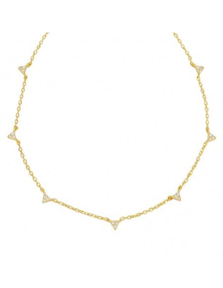 collar oro triangulos circonitas