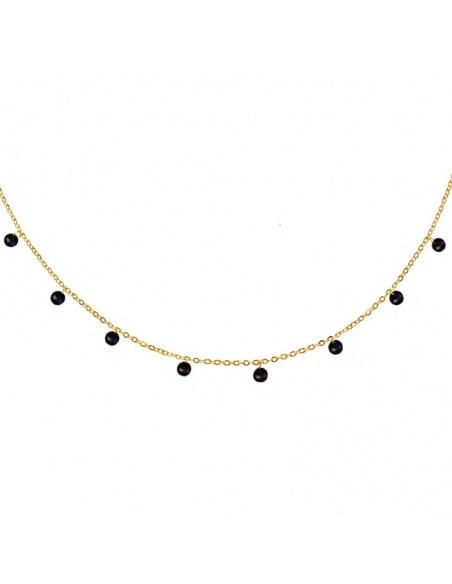collar circonitas negras oro