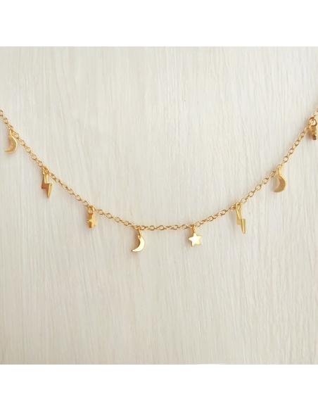 collar colgantes rayos oro cosmic