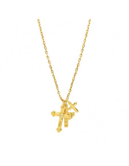 collar 3 cruces oro