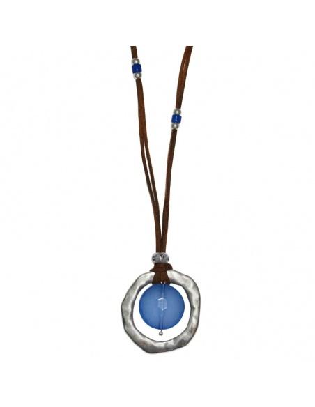 Collar con aro irregular con piedra azul