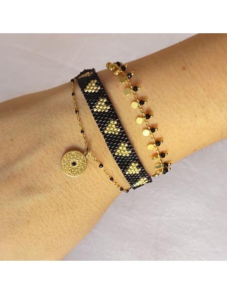 pulsera dorada cristales negros