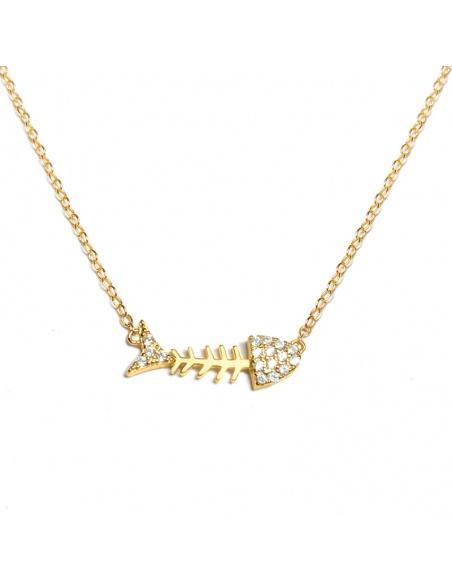 Choker espina pescado oro
