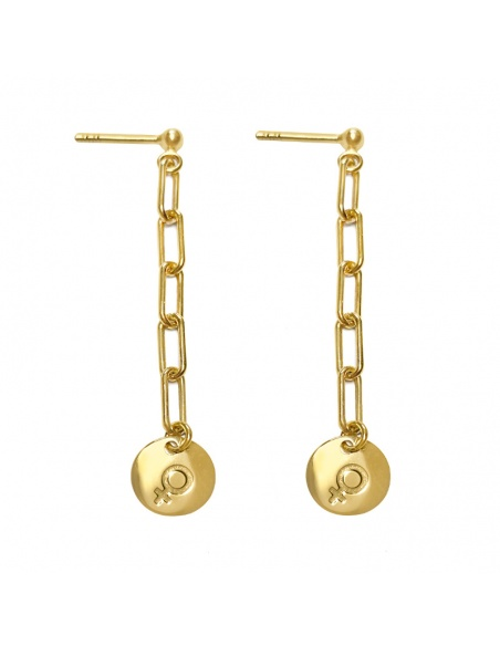 pendientes simbolo mujer oro