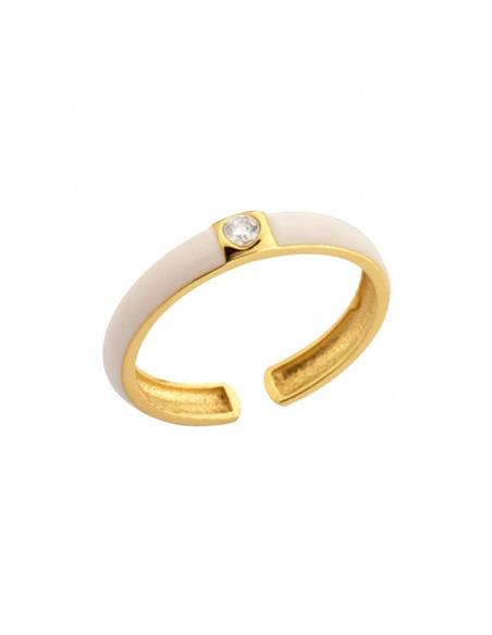 anillo esmalte blanco oro