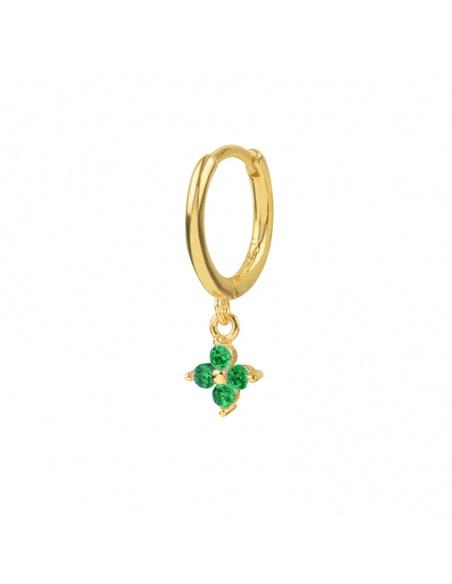 pendiente flor circonita oro verde