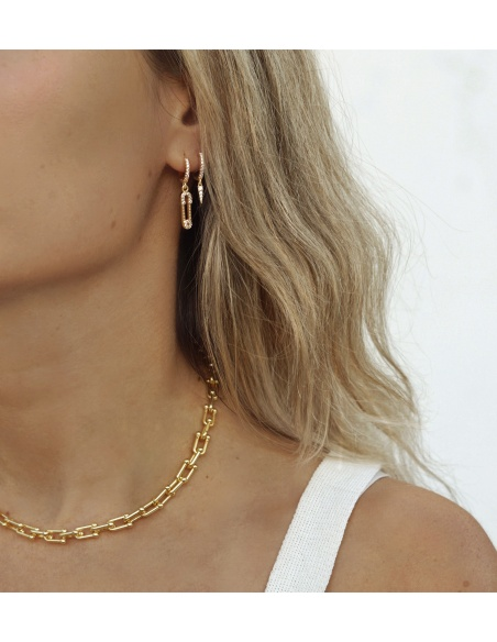 collar cadena acero oro