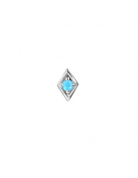 pendiente mini rombo plata azul turquesa