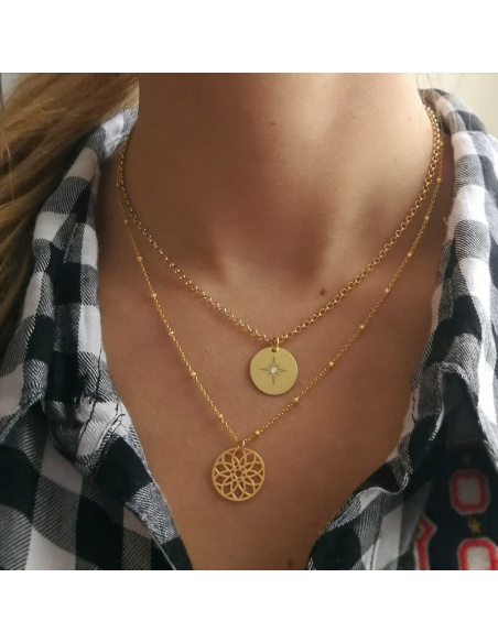 Collar colgante estrella plata oro